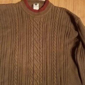 Columbia sport pullover sweater green burg trim L
